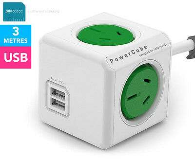 Allocacoc 4-Outlet 3m Extended PowerCube w/ USB - Green