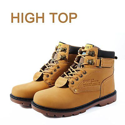 Mens Waterproof Leather Hiking Walking Casual Boots Lace Up Safety Toe Shoes
