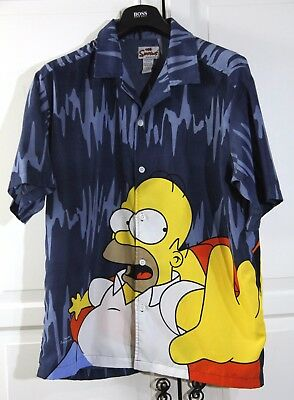 The Simpsons HOMER DUFF BEER Hawaiian / Bowling style S/S SHIRT, Men's L
