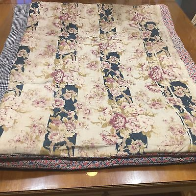 Feed Sack Antique Cotton Quilt Hand Stitched