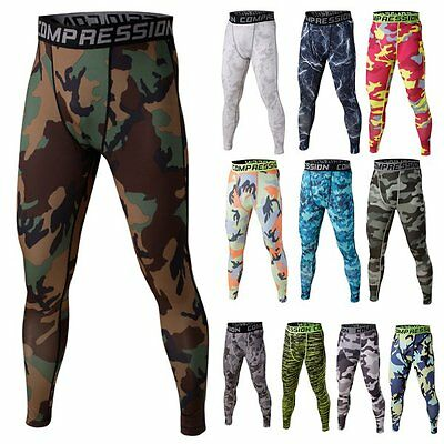 Mens Sports Compression Thermal Base Layer Tights Fitness Long Pants Camouflage