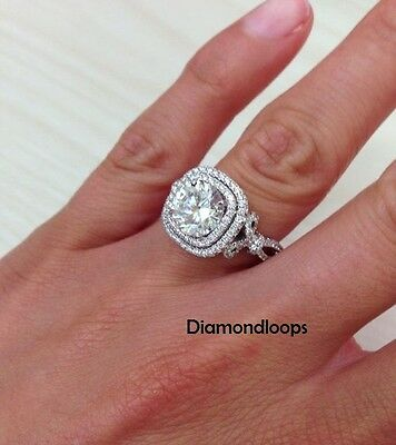 2.33Ct Round Off White Moissanite Halo Wedding Ring Engagement Ring 925 Silver
