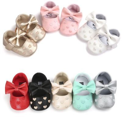 Toddler Baby Prewalker Shoes Newborn Soft Sole Princess Girl Crib Shoes 0-18M