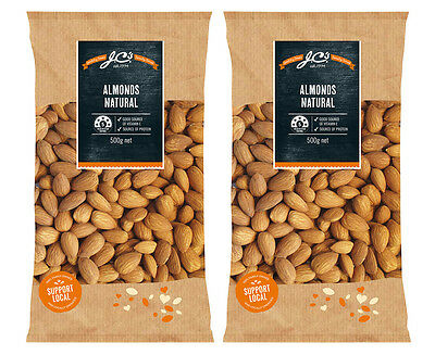 2 x J.C's Almonds Natural 500g