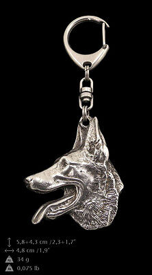 Belgian Shepherd, Malinois, silver covered keyring, high qauality Art Dog