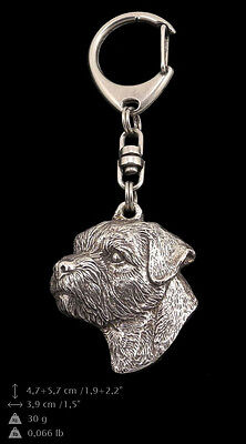 Border Terrier, silver covered keyring, high qauality keyring Art Dog