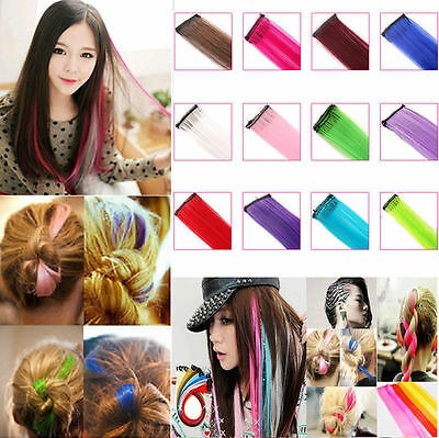 2XWomen Multi Color Long Straight Synthetic Clip in on Hair Extensions Piece NEW