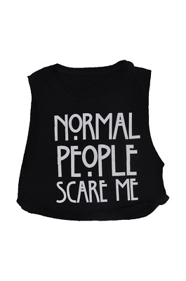 Women Girl's Crop Dancing Top t Shirt Normal People Scare Me Print Cheapest