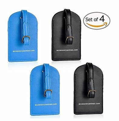 4pc PU Leather Travel Luggage Baggage Suitcase Name ID Address Tags Label Holder