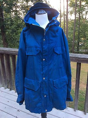 The North Face Vintage Blue Hooded Jacket Coat Size XL