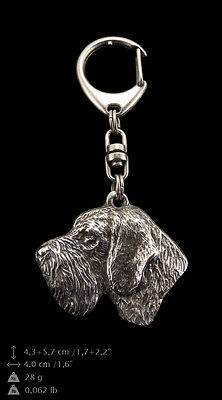 German Wirehaired Pointe, silver covered keyring, high qauality keychain Art Dog