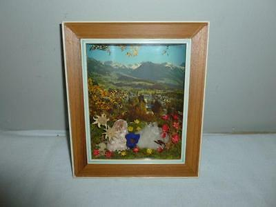 Neat Framed Diarama of The Alps Made in Austria Souvenir-BL