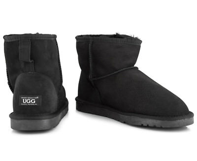 OZWEAR Connection Unisex Classic Mini Ugg Boot - Black