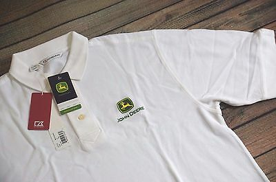 Brand New John Deere  (XL ) JD Polo Shirt  JD Tractor Cutter & Buck White