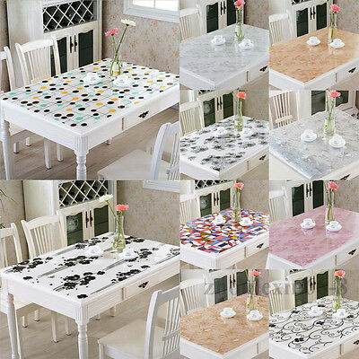 Rectangle Clear Soft Glass PVC Tablecloth Dinning Table Cover Protector Desk Mat