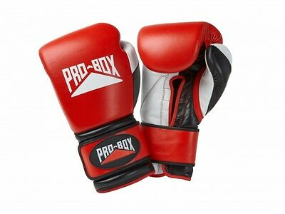 *FREE* Pro Box Pro-Spar Leather Sparring Gloves Red Boxing Kickboxing Training
