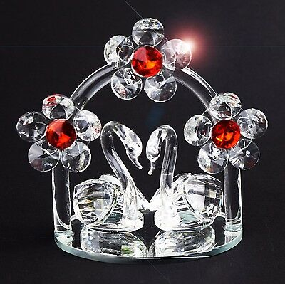 Crystal Cut Pair of Swan With Red Daisy Flower Swarovski Element with Gift Box