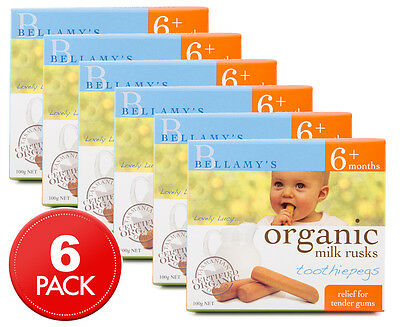 6 x Bellamy's Organic Toothiepegs Teething Milk Rusks 100g