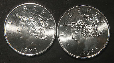 Two 1986 Liberty Silver Rounds 2 Total Troy Oz .999 Pure  Lot 120931
