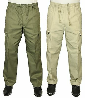 Mens Carabou Trousers Rugby Combat Cargo Elasticated Waist Casual Pants Bottoms