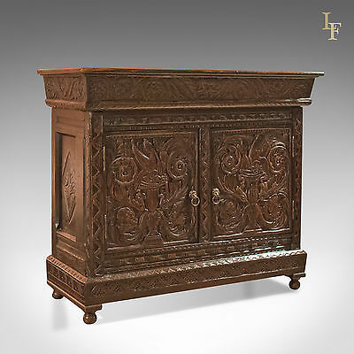 Antique Oak Cabinet, Profusely Carved Cupboard, English Oak, C17th & Later