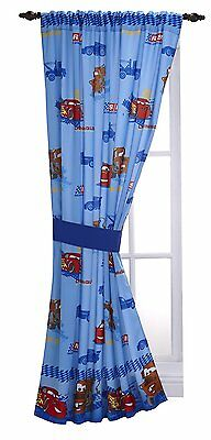 "Disney Cars Window Panel 63"" x 41"" Tie Back Curtains Drapes Kids Boys Girls New"