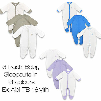 Babygrows Sleepsuits Boy Girl Baby 100% Cotton Bodysuit Playsuit 3 Pack