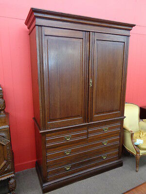 FINAL SALE!!   English Oak Linen Press c.1900 Inv.# 2443B