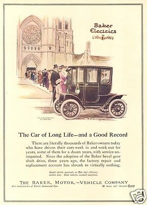Antique 1912 BAKER Electric Car AUTOMOBILE Auto Art CATHEDRAL Sunday Church Ad