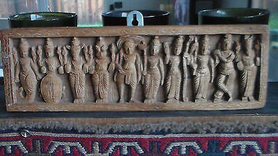 RARE Antique 1906 Hand Carved Wood Plaque Bombay Swadeshi, India