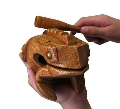Frog Carved Thai Wooden Croaking Instrument Musical Sound Frog Handcraft Art  5""