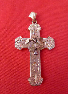 Antique, 1800's Victorian, Pinchbeck Rose Gold Color, Ornate Cross Pendant