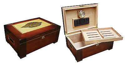 Stetson 150 Cigar High Gloss Dark Burl Wood - Tobacco Leaf Inlay - Humidor