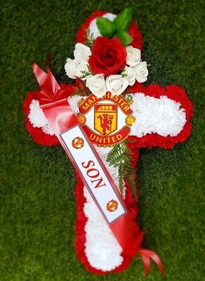 Artificial Silk Flower Manchester United Football Funeral Cross Wreath Red White