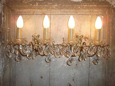 French a pair of  gorgeous vintage patina bronze crystals glass