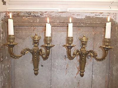 French a pair of gold patina bronze wall candle holders beautiful antique