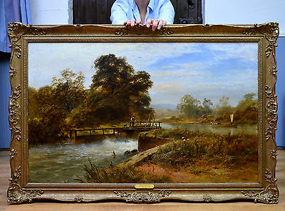 Very Large Fine 19th Century Landscape Oil Painting of River at Henley on Thames