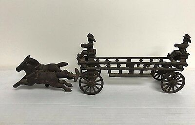 """Vintage Cast Iron Horse Drawn Fire Truck (16"""" long and weighs 2 1/2 pounds)"""