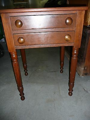 Beautiful 2-Drawer Cherry table-carved legs, c1890