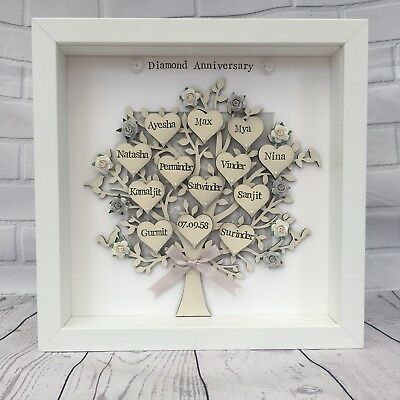 Personalised Golden Wedding Family Tree Anniversary Grandparents Gift 50th 💛