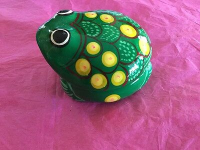 Hand Painted Mexican Frog Ceramic Jewelry Box Very Cute Green
