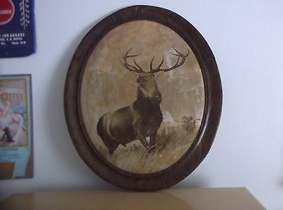 Antique Tin Lithograph Hartford Insurance Sign Stag