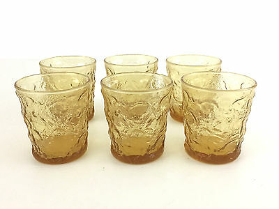 6 Seneca Glass Co. cocktail glasses DRIFTWOOD CASUAL in amber 1960's