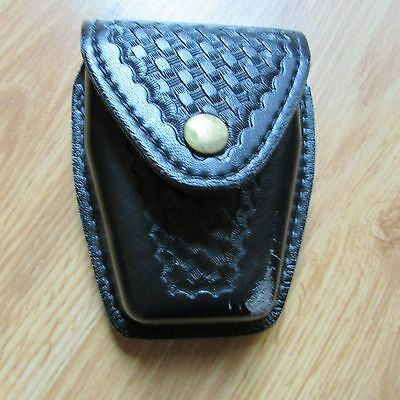Safariland Leather Handcuff Cuff Case Black Basketweave For Duty Belt