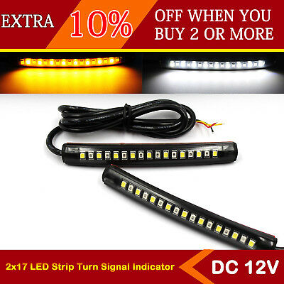 2x Flexible 17 LED Strip Amber White Light Turn Signal Indicator Motorcycle