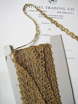 "2 Yds Vintage French Gold Metallic Wavy Scallop Trim 3/8"" Lampshade Pillow"
