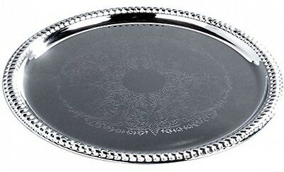 Silver Serving Tray Round Tray 14 Inch Chrome Plated  Weddings Parties Drinks