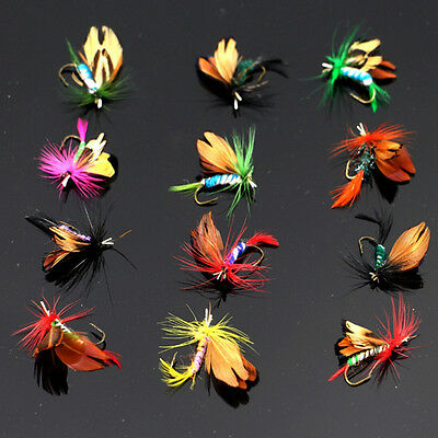 12 Pcs 2cm Wet Dry Trout Flies Fly Fishing Bass Lure Hook Stream Tackle