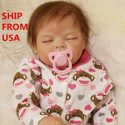 From USA-Soft Silicone Vinyl Handmade Baby Lifelike Reborn Sleeping Girl Doll22""