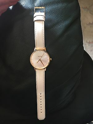 Women's White and Gold Nixon Watch Leather Band